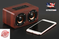 Wooden Subwoofer Bluetooth Wireless Speaker Stereo Bass Dual Speakers w/ Mic