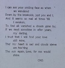 "Poem by CHO: ""I can see your smiling face as when..."" Magic Lantern Glass Slide"