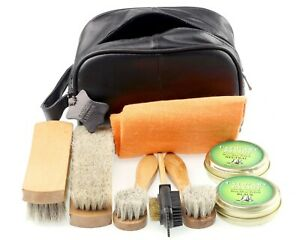 FREE personalisation SHOE CLEANING KIT in Genuine Leather Bag