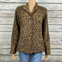 Coldwater Creek Tapestry Brocade One Button Blazer Jacket Size 8 Black Gold Tan