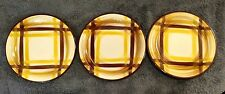 """SET OF 4 MINT PLATES 6-1/4"""" Bread Butter VERNONWARE Organdie Yellow Brown Plaid"""