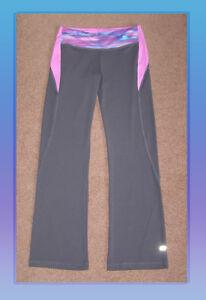 NEW Marika TEK  Gray and Purple contouring shape Yoga pants Large 10 Gym pants