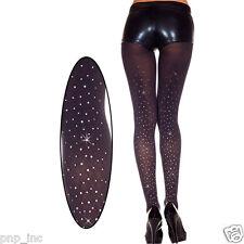 Opaque Black Sparkling Rhinestone Crystal Pattern Tights Glittering Pantyhose OS