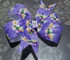 Purple Tinkerbell pin wheel hair bow toddler girl nonslip alligator clip