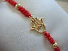 Sterling Silver Hamsa Hand  Evil Eye Red Cord Bracelet For Adult.