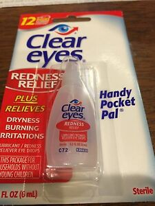 CLEAR EYES LOT OF 12 UNITS  DROPS REDNESS RELIEF DRY EYES 0.2 OZ .6 ML  Soothing