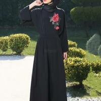 Women Muslim Dress Islamic Cocktail Long Sleeve Maxi Dresses Arab Kaftan Abaya