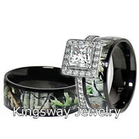 Mens & Womens Black Titanium Camo Sterling Silver Halo Engagement Wedding Rings