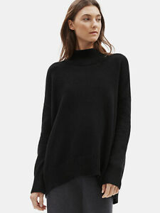 NWT EILEEN FISHER Black Italian Cashmere Mock Neck Sweater Top PL