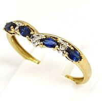 9ct yellow gold blue sapphire and Diamond wishbone ring size P Hallmarked