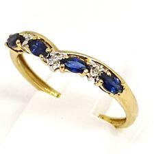 9ct yellow gold blue sapphire and Diamond wishbone ring size P Hallmarked