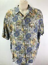 Vtg Mossimo Mens Hawaiian Shirt Large Floral Button Down Short Sleeve Usa Made