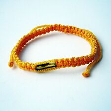 Blessed Buddhist Bracelet Amulet Takrut Thai WRISTBANDS For GOOD LUCK# Yellow