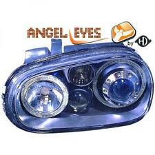 RHD LHD Projector Headlights Pair Angel Eyes Black H7 H7 H3 For VW Golf IV 97-03