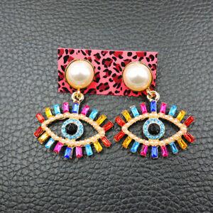 Betsey Johnson rare Alloy Rhinestone crystal Multi-Color Pearl Eyes drop Earring