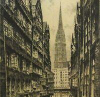 Albrecht Bruck (1874-1964) Farb-Radierung: HAMBURG STECKELHÖRNFLEET