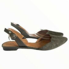 J. Jill Slingback Flats Gray Green Suede Ankle Strap Buckle Scalloped Size 10