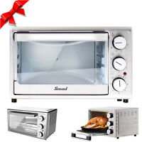SMAD 6-Slice Air Fryer Toaster Oven Rotisserie Convection Cooker Stainless Steel