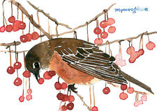 ACEO Limited Edition - Robin in the red berries, Art card, gift idea
