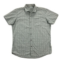 Kuhl Intrepid Mens Medium Tapered Fit Gray Short Sleeve Button Up Shirt