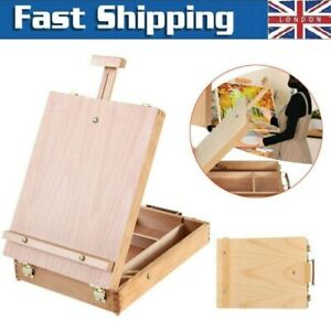 Wooden Portable Artist Wood Table Top Desk Painting Easel Sketch Box Drawing UK