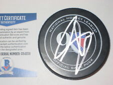 ADAM GRAVES Signed RANGERS 90th Anniversary Official GAME Puck w/ Beckett COA