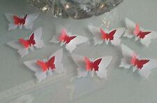 20 Rojo Y Blanco Grande Y Pequeño en capas 3d butterflys Para Boda Decoración de Mesa