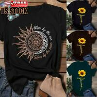 Women's Summer Short Sleeve T Shirt Blouse Ladies Sunflower Round Neck Tee Tops