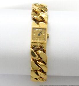 Midcentury Chopard 18k Wrist Watch Heavy Gold Curb Link Bracelet 117gr Vintage