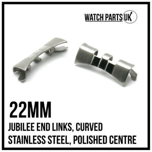 • 22mm Jubilee Curved End Links, Stainless Steel Polished Centre For 22mm Lugs •