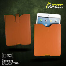 Brown Slip In Case Pouch for iPad 2 3 4 Samsung Galaxy Tab 2 3 10.1 PU Leather