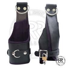 Cow Hide Heavy Leather Padded Wrist Suspension Cuffs Restraint Lockable Purple