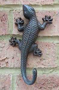 Cast Iron Gecko Lizard Hook Ideal For Coats Bags Strong Brown 18 cm Ornament New