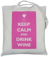 KEEP CALM AND DRINK WINE (Pink) -  NATURAL COTTON SHOULDER BAG - Tote