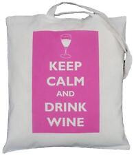 Keep Calm E Bere Vino (ROSA) - Cotone Naturale Borsa a tracolla-Tote