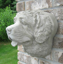CONCRETE SAINT BERNARD LIFE SIZE WALL HANGER HEAD MOUNT STATUE OR MONUMENT