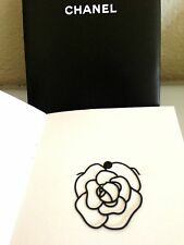 CHANEL Camellia Flower Black Metal Bookmark