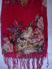 New  Rose Design Shwal Scarf Wrap Colour Red  170cm x 68cm