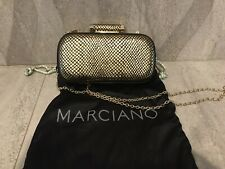 NWT Marciano GUESS Classic MinaudIere Purse Clutch metallic Gold Python embossed
