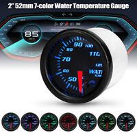 """2"""" 52mm Car 7 Color LED Digital Water Temp Temperature Gauge Black Face Meter"""