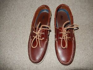 Bass Seafarer Men's Brown Boat Shoes Leather US Size 10.5 M Lace up