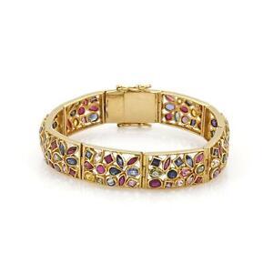 Estate 8 Carats Multicolor Sapphire Ruby 22k Gold Rectangular Link Bracelet
