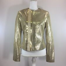 Wilsons Leather Pelle Studio Womens Jacket Small Gold Croc Embossed Metallic