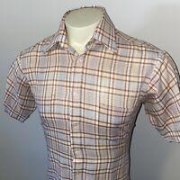 Vtg 60s 70s VAN HEUSEN Shirt Plaid Button SOFT Hipster S/S Groovy MENS MEDIUM