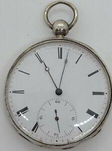 Antique 19th C Victorian Swiss Key Wind Silver Pocket Watch 16s Richard A Geneve