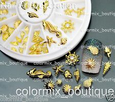 #AW_16 Beach Nail Art Decoration 3D Gold Seahorse Starfish Shell Conch Slice