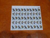 United States Scott 1760 - 1763,  American Owls Birds Wildlife Sheet of 50 Mint