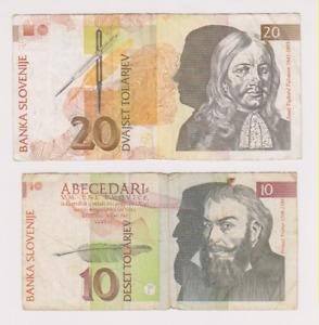 SLOVENIA Lot of 2 Banknote 10, 20 Tolar World Paper Money 1992 (1)