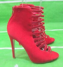 "NEW LADIES Red 5.5""Stiletto Heel front strap Open Toe  Sexy Shoes Size 5.5"