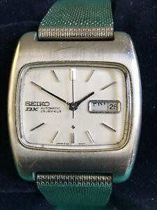 "VINTAGE 40MM SEIKO ""DX"" STAINLESS STEEL AUTOMATIC WRISTWATCH 6106-5419, RUNNING!"